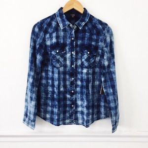 Tinsel Town Acid Wash Plaid Chambray Shirt